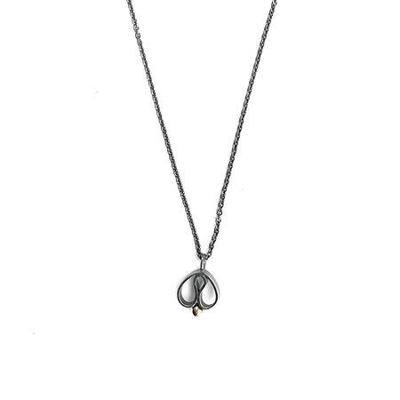 vanNienke Tulp collier klein, zwart zilver, gouden bolletje