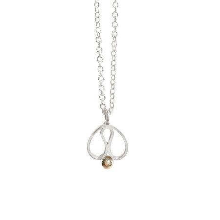 vanNienke Tulp collier groot, wit zilver, gouden bolletje