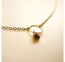 14 karaat geel gouden oogjes collier, 41cm