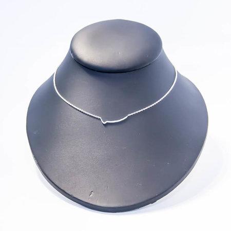 vanJorien zilveren collier met gouden hanger en diamant