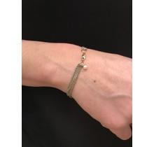 G.S.E. Armband 1 x geel gouden gourmetschakel en 4 edelstaal ankerschakel met gouden sluiting