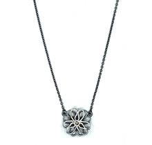 Collier bloem (3-3 klein) zilver zwart
