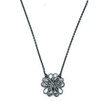 Collier bloem (3-5 klein) zilver zwart