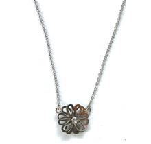 Collier bloem (3-3 klein) wit goud, 45cm 1,3mm anker, 2,0VSI F/G diamant