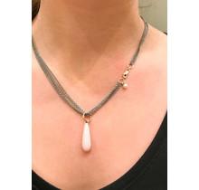 GSE collier met edelsteen hanger GSE basis collier Pink opaal
