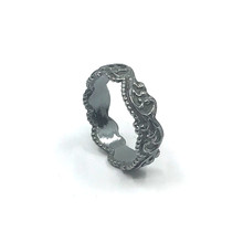 Galerie ring zilver, zwart smal