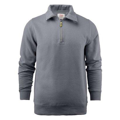 Sweater met rits heren staalgrijs