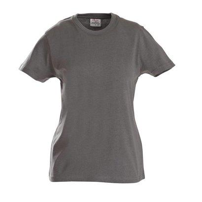 t-shirt voor dames met ronde hals staalgrijs