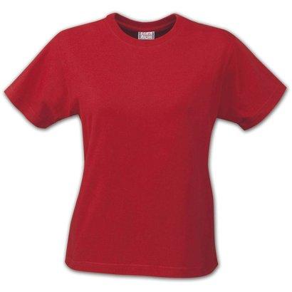 t-shirt dames met ronde hals rood