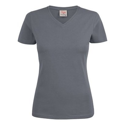 v-hals t-shirt voor dames staalgrijs