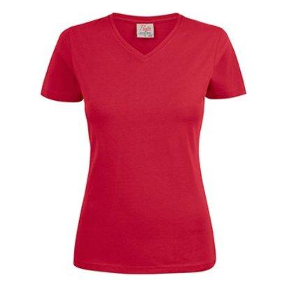 v-hals t-shirt voor dames rood