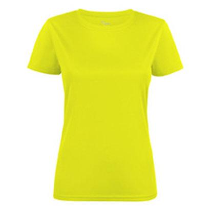 Polyester sportshirt voor dames fluogeel