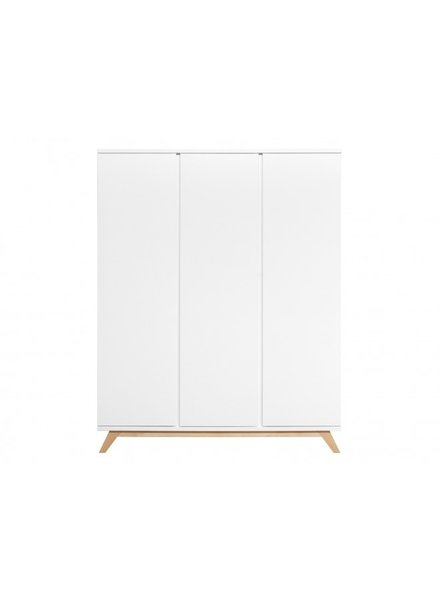 BOPITA 3-DOOR WARDROBE HANDLELESS LYNN WHITE / NATURAL