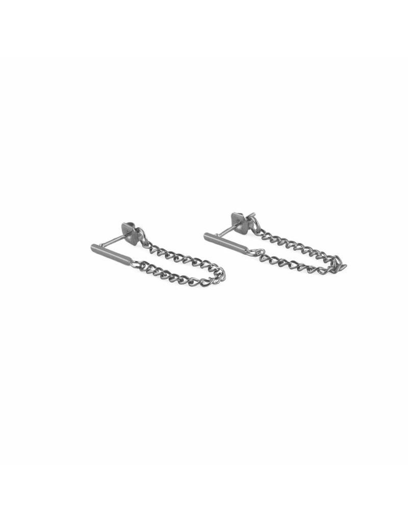Oorbel - Silver bar chain