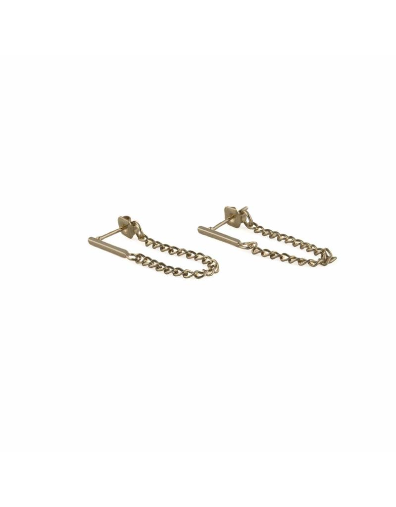 Oorbel - Gold bar chain