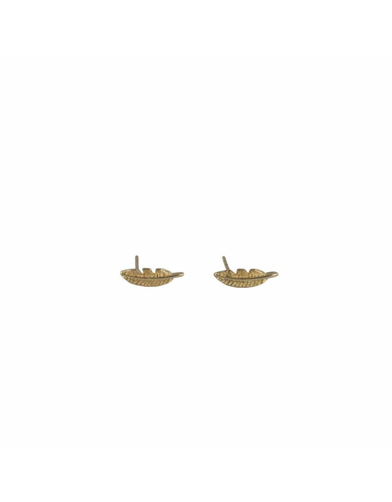 Oorbellen - Mini veer (goud)