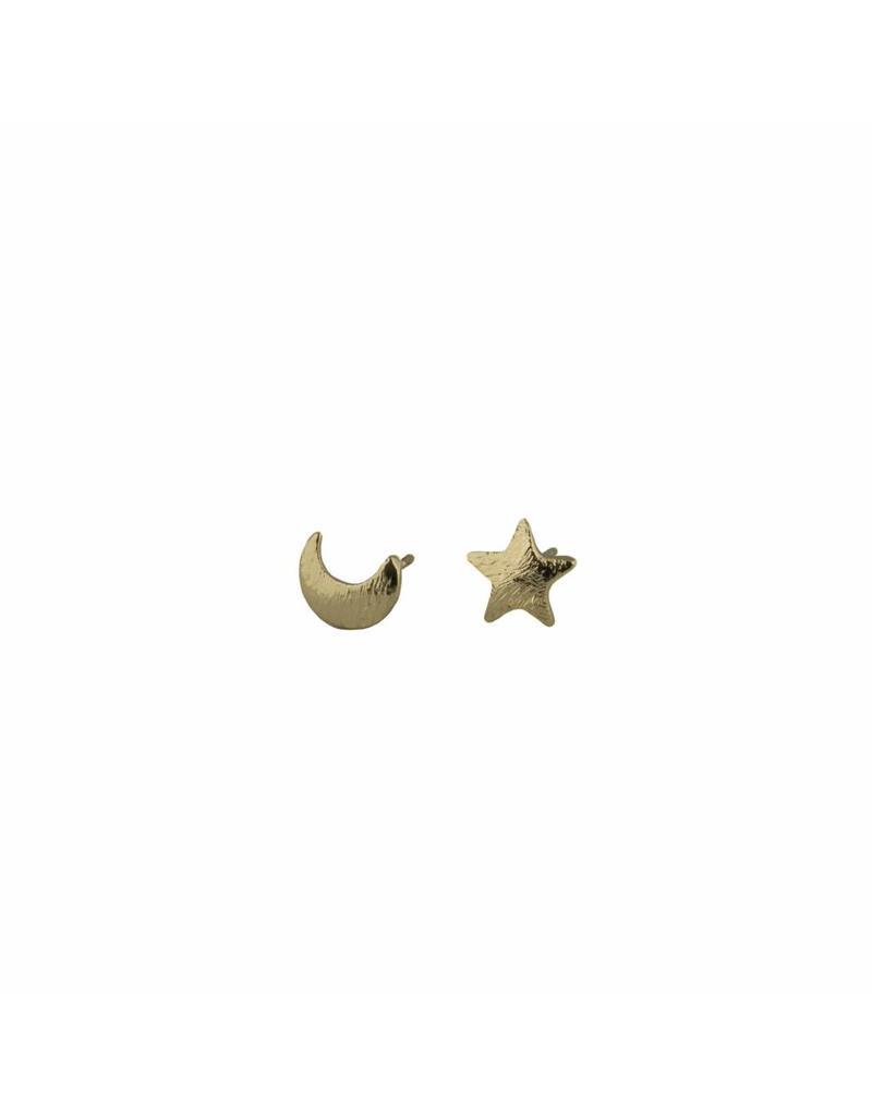 Oorbellen - Gold moon & star