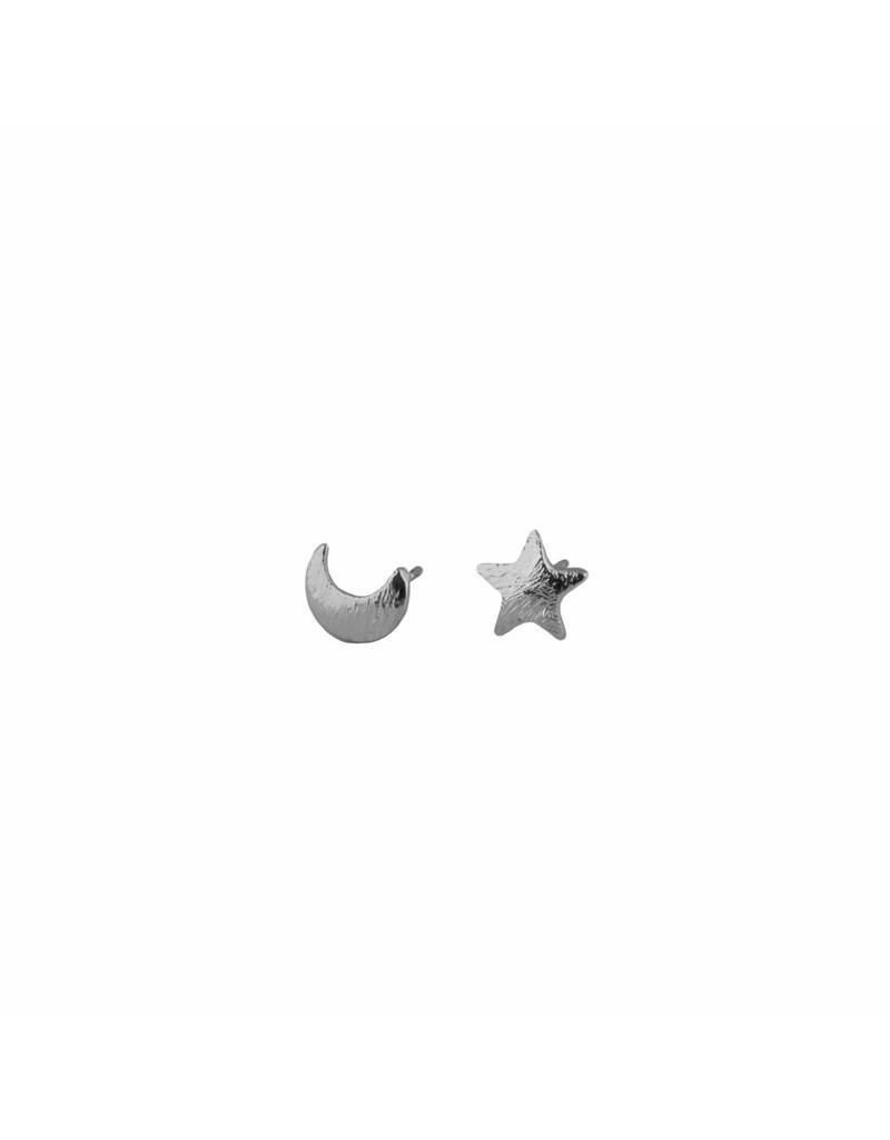 Oorbellen - Silver moon & star