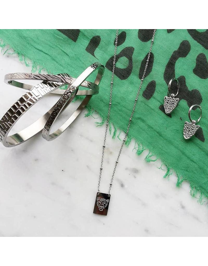 Oorbellen - Silver leopard