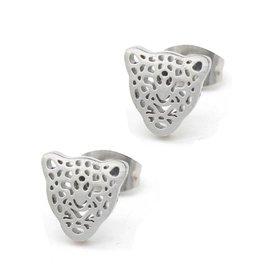 Oorbellen - Panter zilver