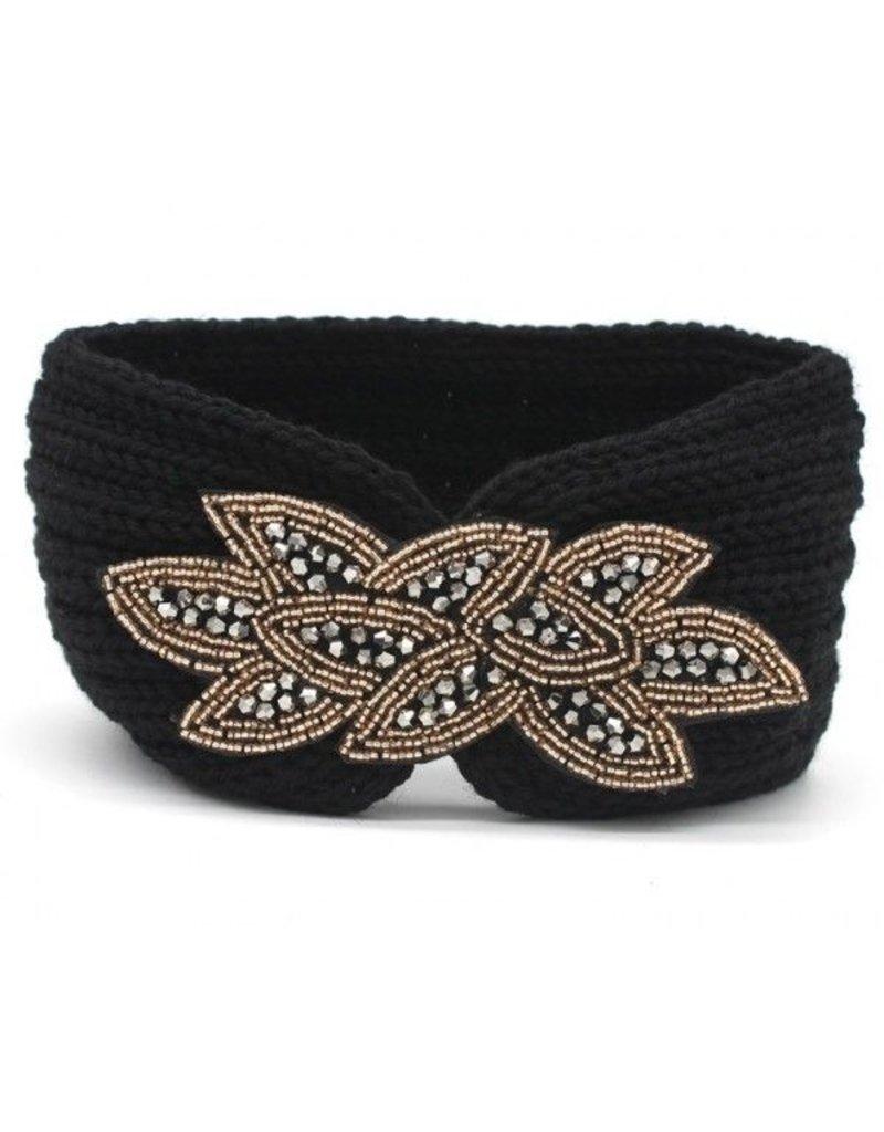 Gebreide haarband - Zwart
