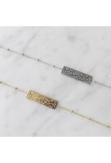 armband - silver leopard bar