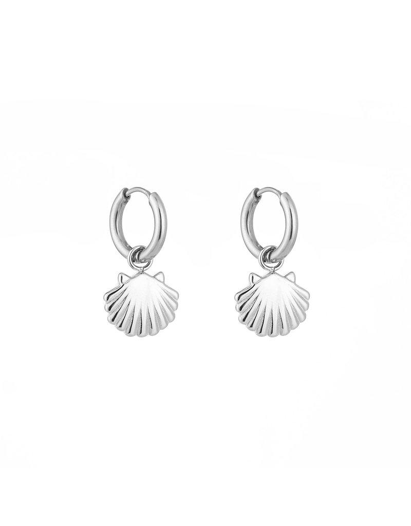 Oorbellen - Silver shell