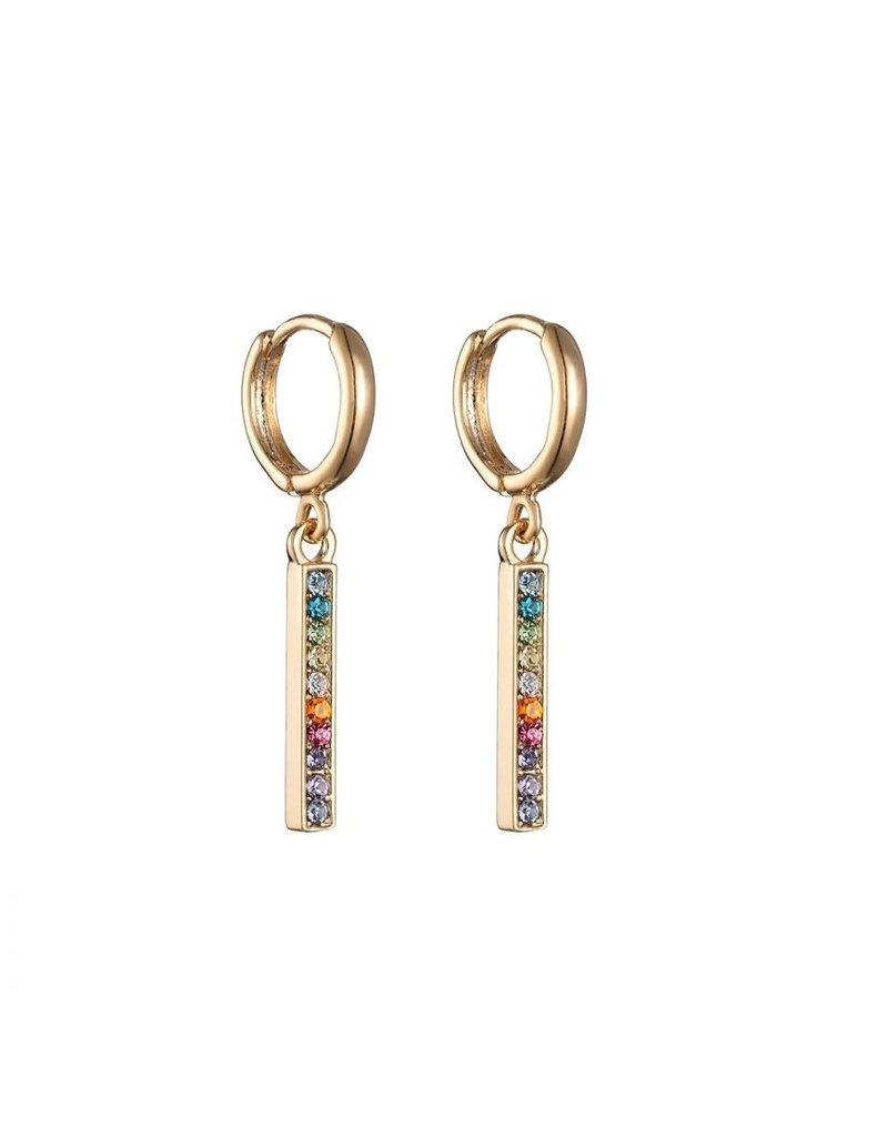 Oorbel - Colour stones (goud)