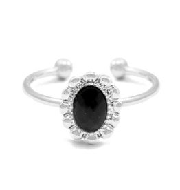 Ring - Black stone (zilver)