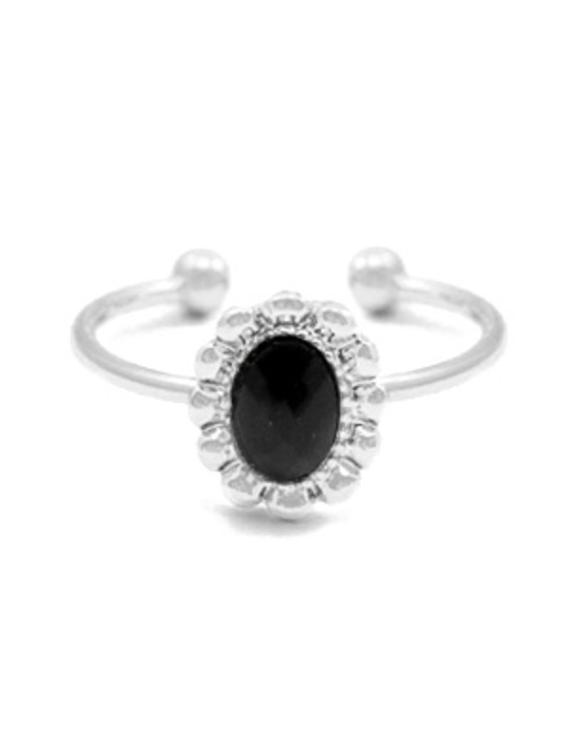 Ring - Black stone (zilver)