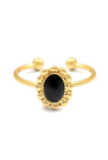 Ring - Black stone (goud)
