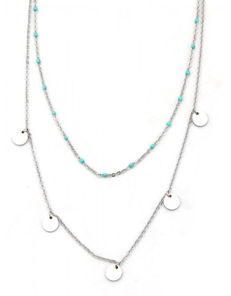 Laagjes ketting - Turquoise coins