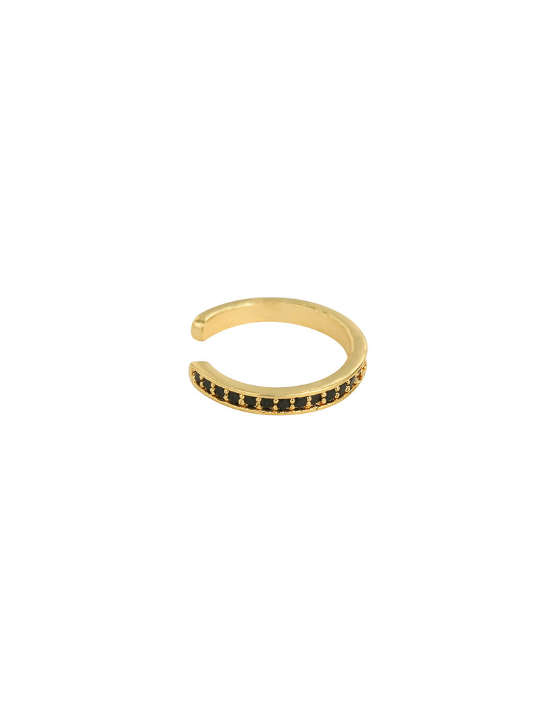 Earcuff - Black stones (goud)