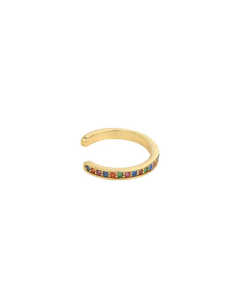 Earcuff - Rainbow stones (goud)