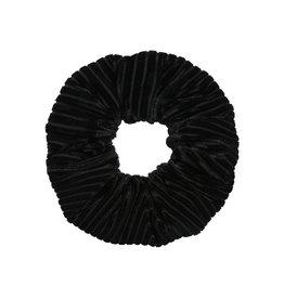 Velvet rib scrunchie - Zwart