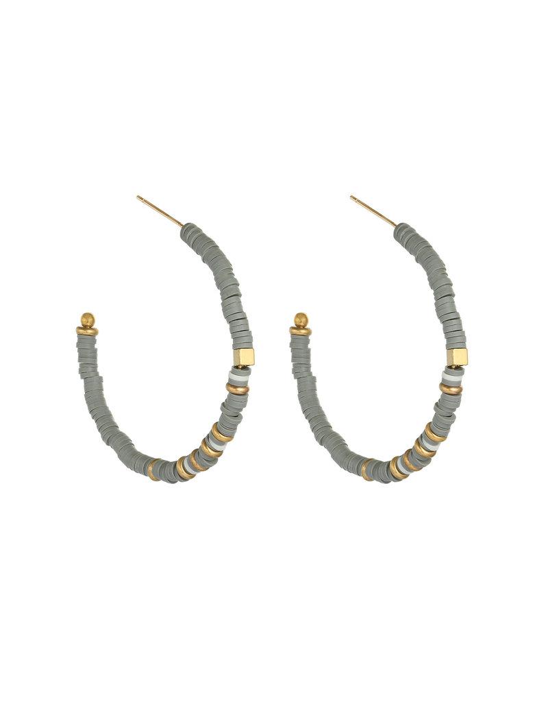 Oorbellen - Grey beads