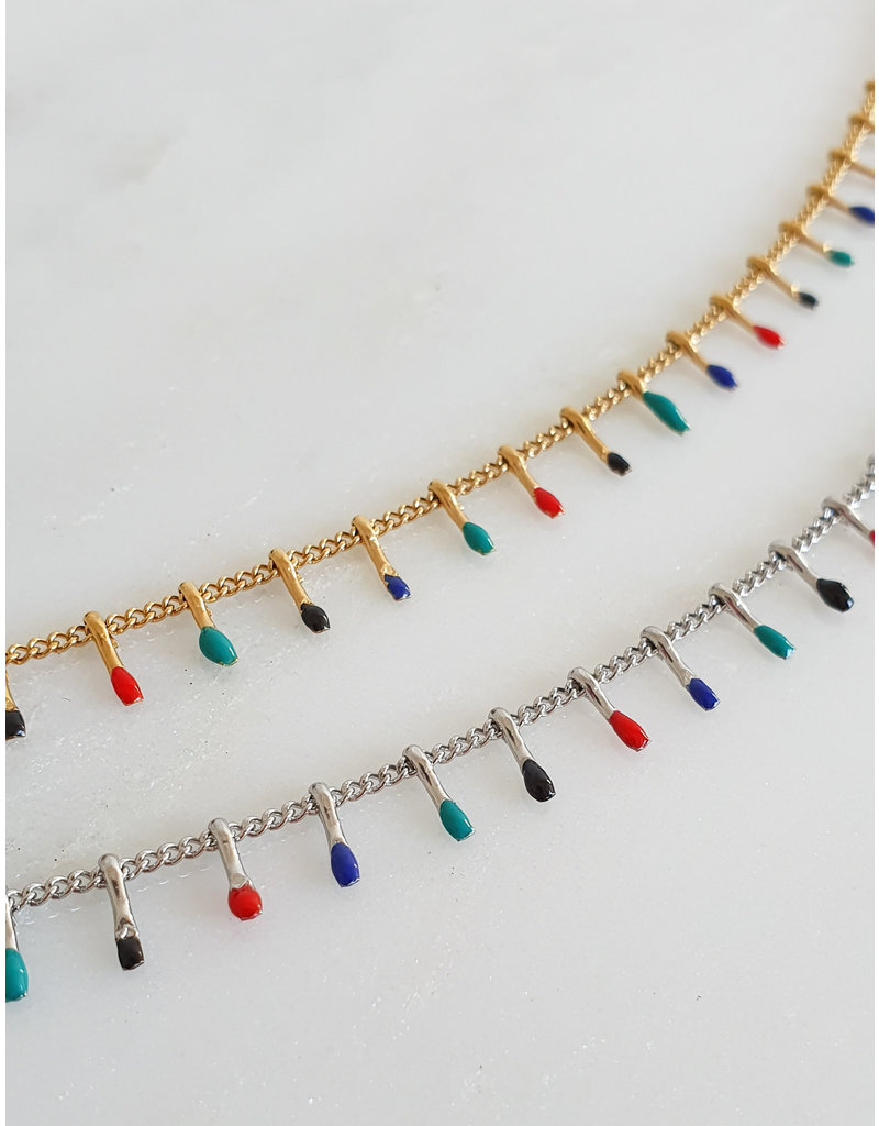 Ketting - Paint drops (zilver)