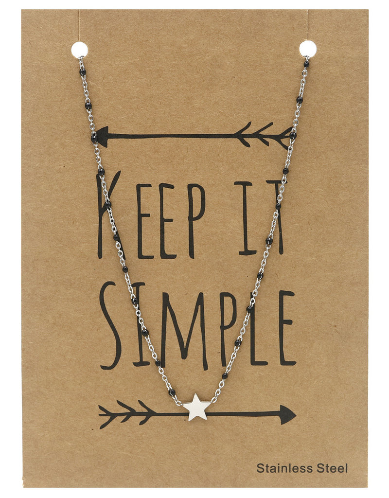 Ketting - Starry black dots (zilver)