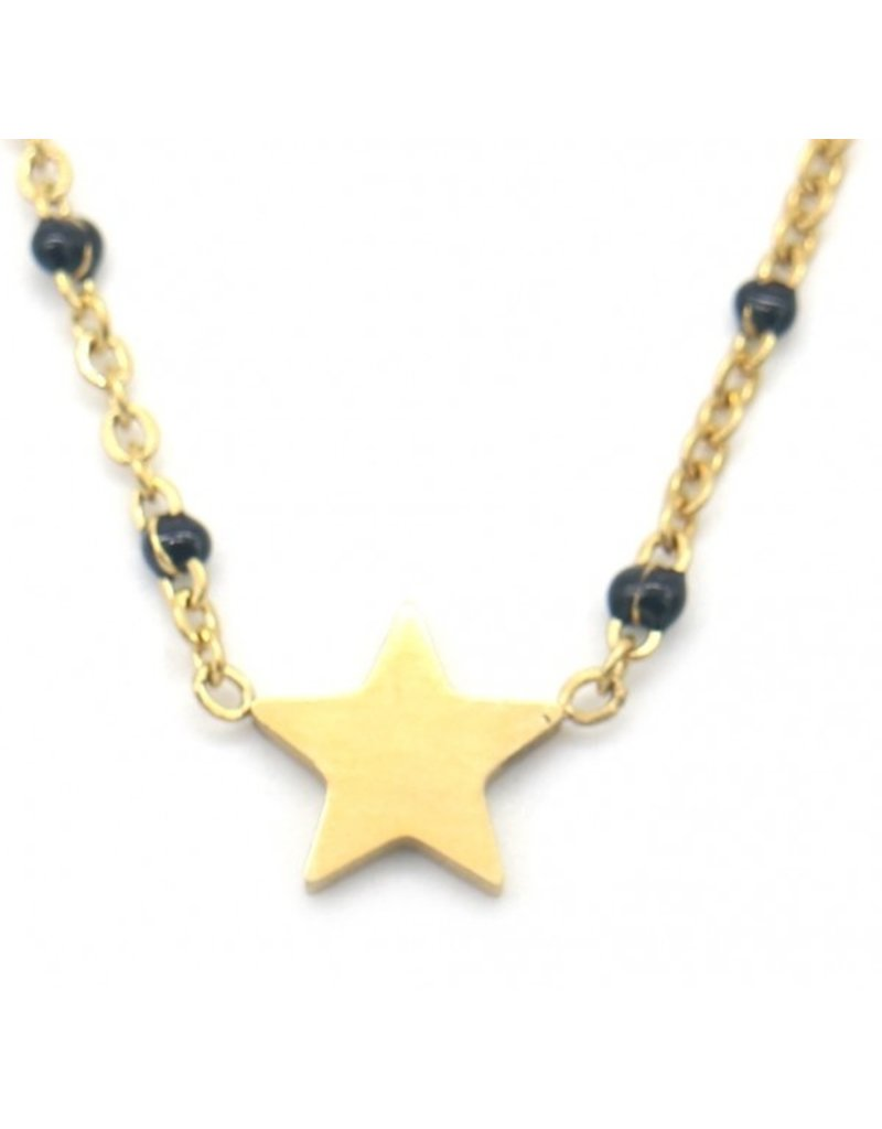 Ketting - Starry black dots (goud)