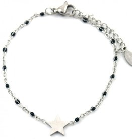 Armband - Starry black dots (zilver)