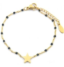 Armband - Starry black dots (goud)