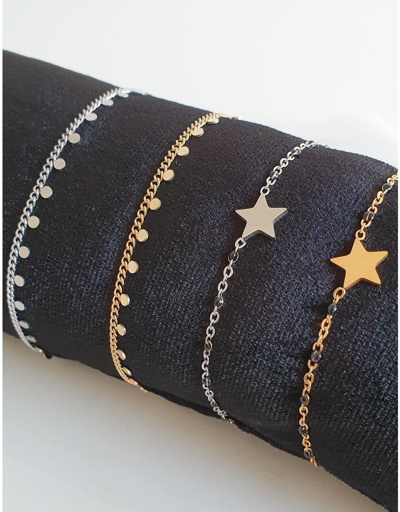 Armband - Starry black dots (zilver)