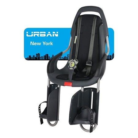 Qibbel ToGo Achterzitje Antraciet met dragerbevestiging en stylingset Urban New York Uni Black