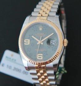 Rolex  Datejust Gold/Steel  Green Flower Dial NEW 116233