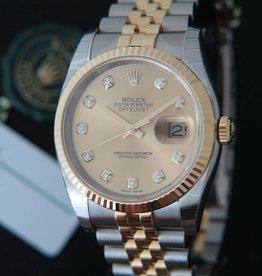 Rolex  Datejust Gold/Steel Champagne Diamond Dial NEW 116233
