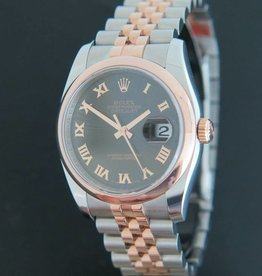 Rolex  Datejust Rosegold / Steel 116201 Black Sunbeam Dial