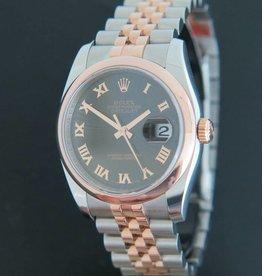 Rolex  Datejust Rosegold / Steel 116201 Black Sunburst Dial