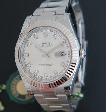 Rolex  Datejust II Silver Diamond Dial 116334 NEW