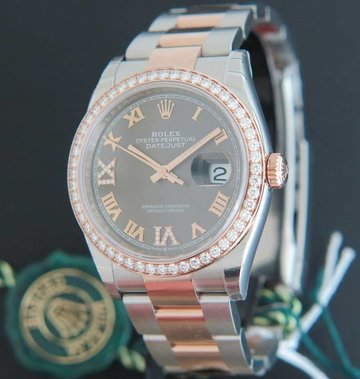 Rolex  Datejust NEW 126281RBR Everose/Steel Dark Rhodium Diamond Dial