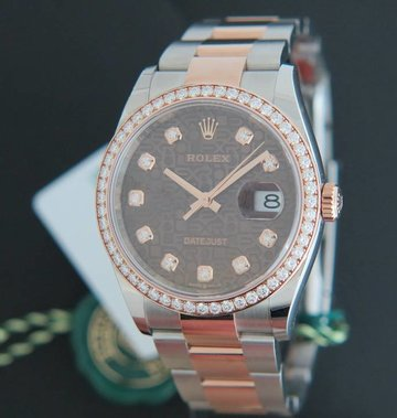 Rolex  Datejust NEW 126281RBR Everose/Steel Chocolate Diamond Dial